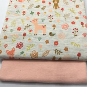 Mini-Stoffpaket FOREST FRIENDS  ecru melange / 0,5 m Jersey & Bündchen Bild 2