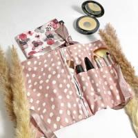 Kosmetiktasche rosa für Reisen, Schminktasche aus Baumwolle, Kulturtasche rosa für Frauen, Make-up Tasche Blumen Bild 1