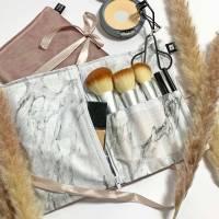 Kosmetiktasche rosa für Reisen, Schminktasche aus Baumwolle, Kulturtasche rosa für Frauen, Make-up Tasche Marmor Bild 1