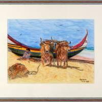 Algarvefischer – Original Pastellkreidemalerei, gerahmt. Bild 1