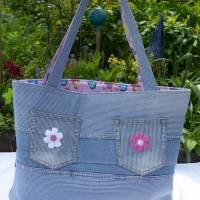 Strandtasche 'Sigrun' mit Kolibri der Vogelmalerin, Jeans-Upcycling-Unikat hessmade Bild 3