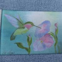 Strandtasche 'Sigrun' mit Kolibri der Vogelmalerin, Jeans-Upcycling-Unikat hessmade Bild 4