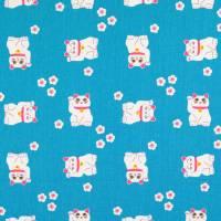 Baumwolle Baumwollstoff winkende Katze türkis (1m /8,00€) Bild 1