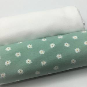 Mini-Stoffpaket Biojersey SMALL FLOWER, mint / 0,5 m Jersey & Bündchen Bild 1