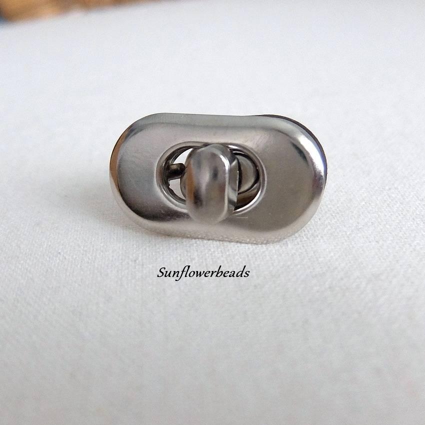 Drehverschluss silber, oval,  für Taschen und Geldbörsen, 4-teilig Bild 1