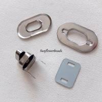 Drehverschluss silber, oval,  für Taschen und Geldbörsen, 4-teilig Bild 2