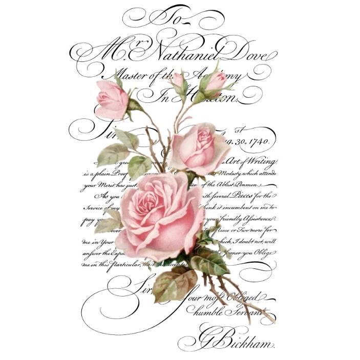 Wasserschiebefolie - Decalfolie - Abziehbild - Vintage - Shabby - Romantic Letter - Rosen - 90079 Bild 1