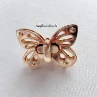 Großer Drehverschluss gold, Schmetterling, für Taschen und Geldbörsen, 4-teilig Bild 1