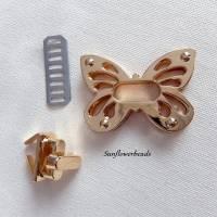 Großer Drehverschluss gold, Schmetterling, für Taschen und Geldbörsen, 4-teilig Bild 2