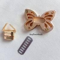 Großer Drehverschluss gold, Schmetterling, für Taschen und Geldbörsen, 4-teilig Bild 3
