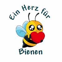 24 Sticker Etiketten Aufkleber, rund D= 4 cm, Kartengestaltung, Ein Herz für Bienen, neu Bild 1