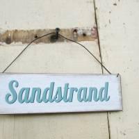 Maritimes Metall-Schild Sandstrand Metallhänger  - Garten Deko Landhaus Türdeko Wohndeko, Geschenk Beigabe Meer Bild 1