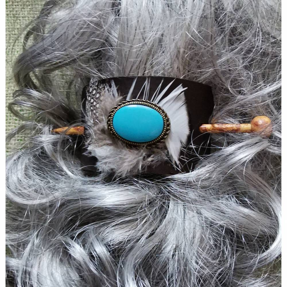 Haarschmuck, Haarspange mit Haar-Stab,  mit echten Federn (HS14)  Bild 1