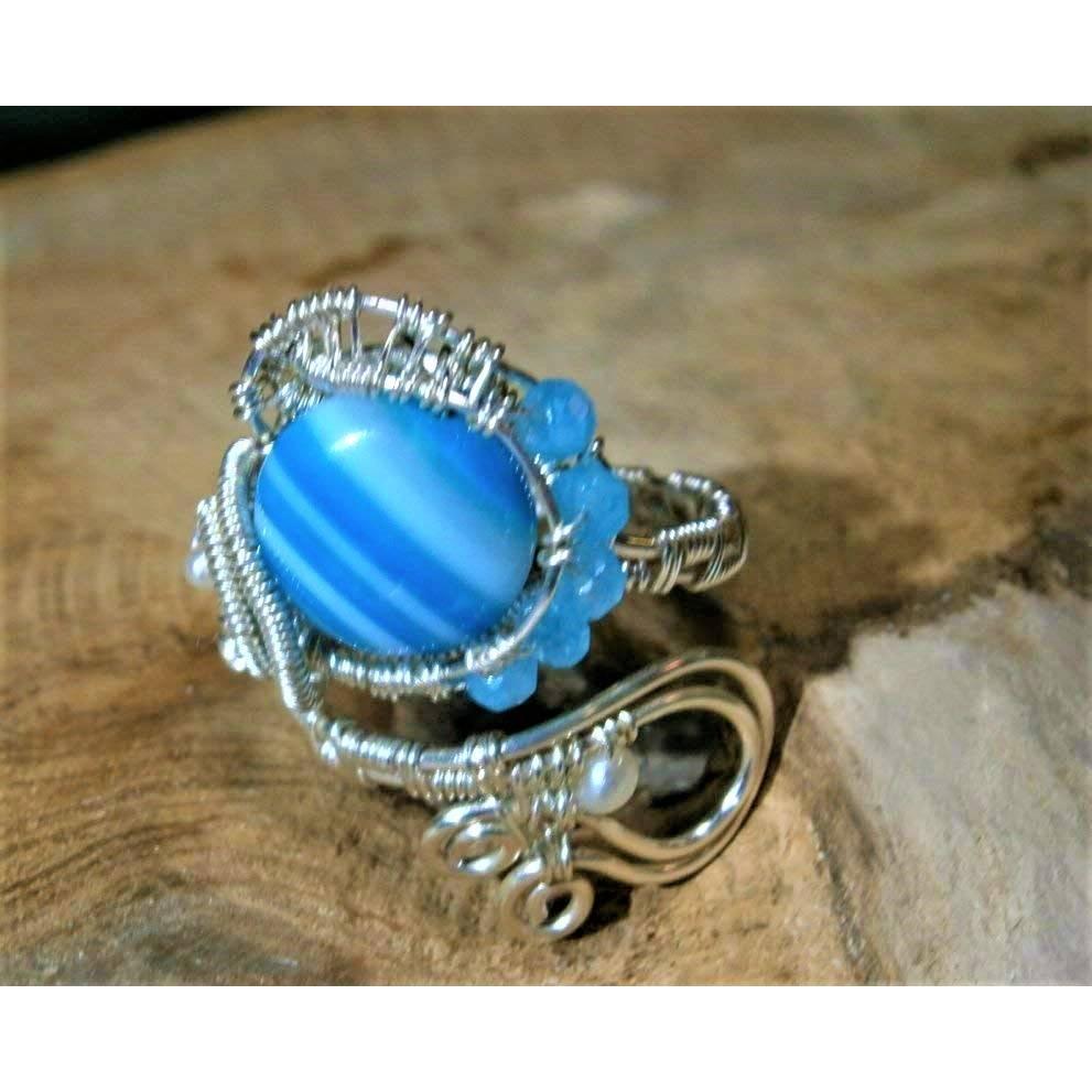 Ring mit Achat blau grau gestreift handgewebt petrol mit Keshiperlen weiß verstellbar spiralring Paisley bohho Bild 1