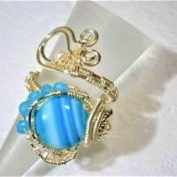 Ring mit Achat blau grau gestreift handgewebt petrol mit Keshiperlen weiß verstellbar spiralring Paisley bohho Bild 5