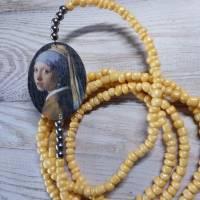 VERMEERS GIRL/bettelkette/charmkette/lange kette/mädchen mit dem perlenohrring/nachhaltig/holz/geschenk für/kunst/bild Bild 1