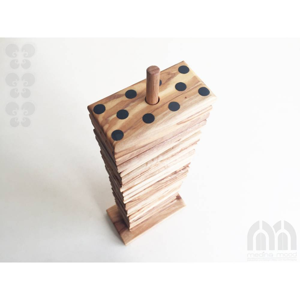 Domino Spiel inklusive 28 Dominosteine und Halterung in XL Ausführung, Natur Spielzeug Geschenkidee, handgefertigt aus O Bild 1