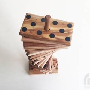 Domino Spiel inklusive 28 Dominosteine und Halterung in XL Ausführung, Natur Spielzeug Geschenkidee, handgefertigt aus O Bild 2