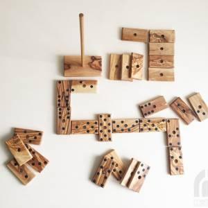 Domino Spiel inklusive 28 Dominosteine und Halterung in XL Ausführung, Natur Spielzeug Geschenkidee, handgefertigt aus O Bild 7