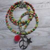 PEACE POWER/kette/bettelkette/lgtbq/flower power/boho/trend/schmuck/geschenk für/hippie kette/bunte kette/regenbogen Bild 1