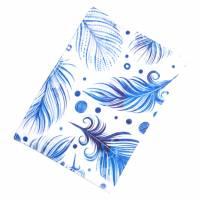 "Impfpasshülle ""Blaue Federn"" aus Baumwollstoff, waschbar - Impfausweishülle - Impfpassetui - Schutzhülle Bild 2"