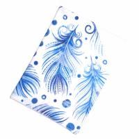 "Impfpasshülle ""Blaue Federn"" aus Baumwollstoff, waschbar - Impfausweishülle - Impfpassetui - Schutzhülle Bild 3"