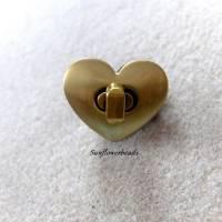 Drehverschluss bronze in Herzform, für Taschen und Geldbörsen, 4-teilig Bild 1