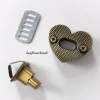 Drehverschluss bronze in Herzform, für Taschen und Geldbörsen, 4-teilig Bild 3