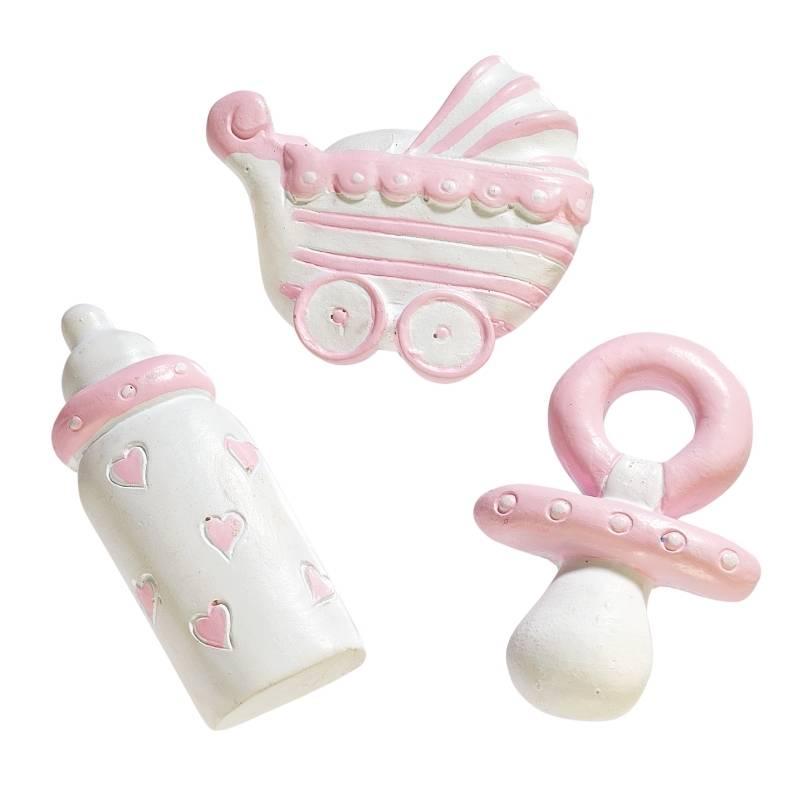 Tolle Streuteile Baby in Rosa - 3 Stück - Dekoration Bild 1
