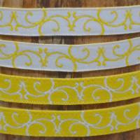 Webband mit Ranken Ornamenten weiß/gelb und grün/orange 2 m  Bild 1