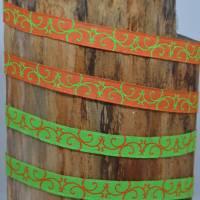 Webband mit Ranken Ornamenten weiß/gelb und grün/orange 2 m  Bild 2