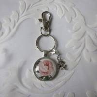 """Schlüsselanhänger Rose Cabochon """"Suzette"""" Landhaus Vintage Stil nostalgisch  Bild 3"""