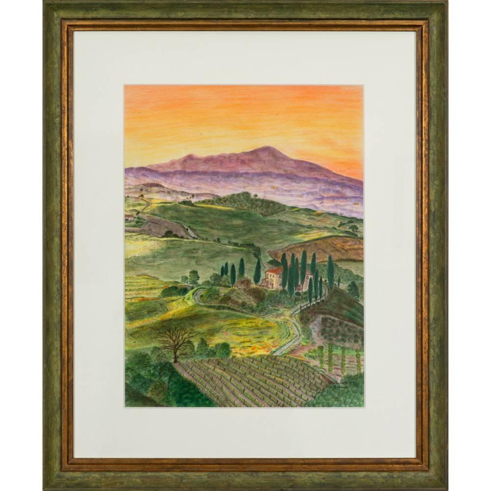 Toskana - Original Pastellkreidemalerei, gerahmtes Unikat Bild 1
