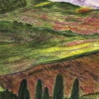 Toskana - Original Pastellkreidemalerei, gerahmtes Unikat Bild 2