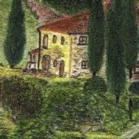 Toskana - Original Pastellkreidemalerei, gerahmtes Unikat Bild 3