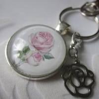 """Schlüsselanhänger Rose Cabochon """"Nanette"""" Landhaus Vintage Stil nostalgisch  Bild 1"""