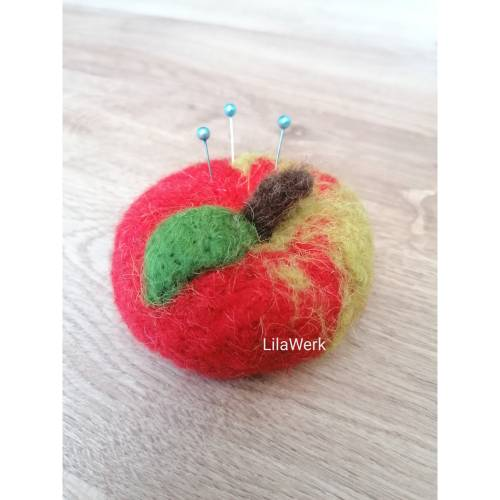 Nadelkissen Filz gefilzt Apfel Obst rot