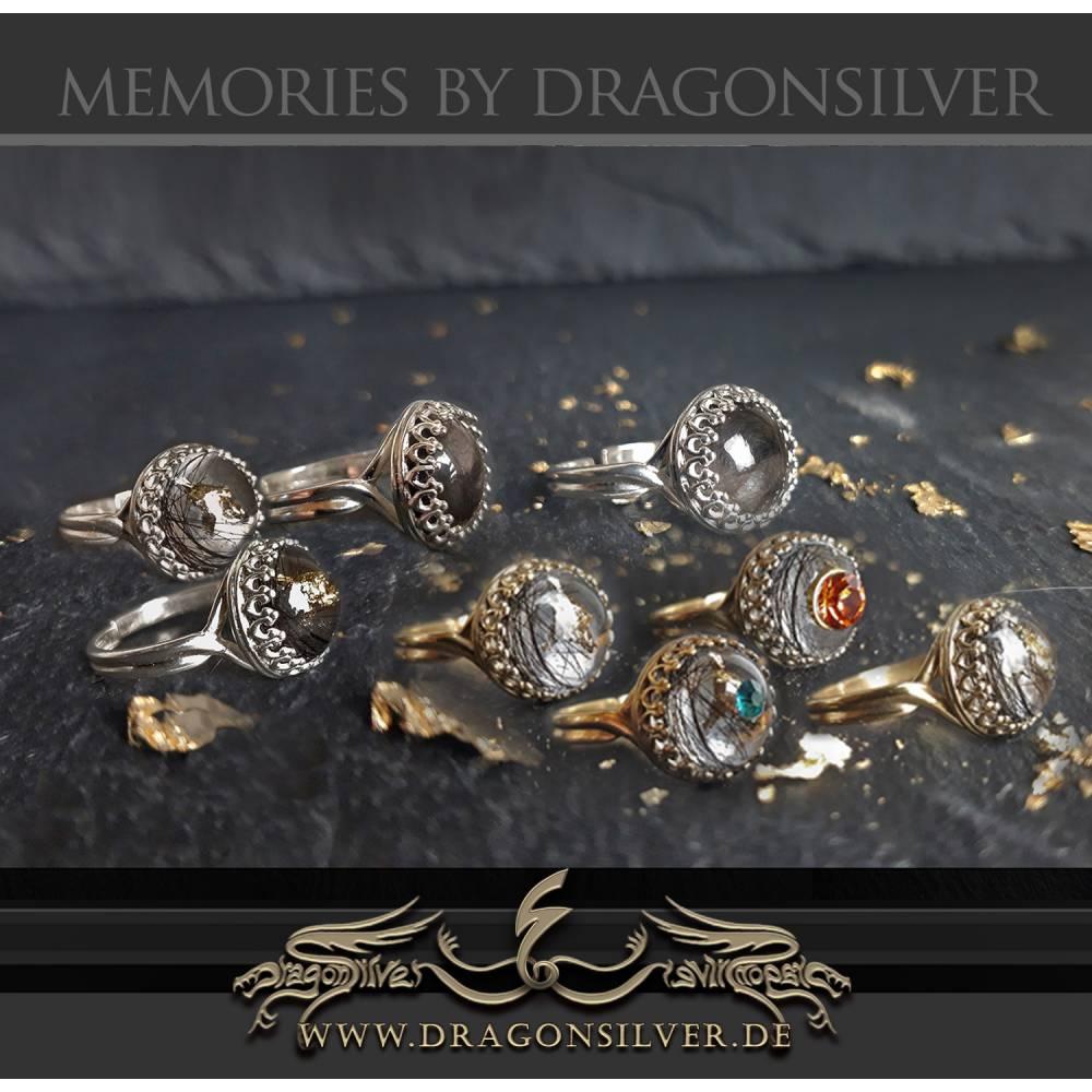 Tierhaarschmuck Tierhaar Andenken Tierhaar Ring Asche Fell 925 Sterling Solitär Ring personalisierter Glücksbringer Bild 1