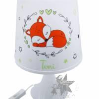 Kinderlampe/Tischleuchte mit Fuchs & Ranken & Namen in orange/grün  Bild 1