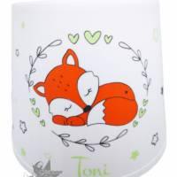 Kinderlampe/Tischleuchte mit Fuchs & Ranken & Namen in orange/grün  Bild 2