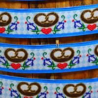 Webband Breze Landhaus Oktoberfest blau Rauten Glücksband 1 m Nähen Deko Bild 1