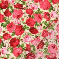 Baumwolle  Popeline Millefleurs Rosen ecru' - rot Töne (1m/9 ,-€)  Bild 1