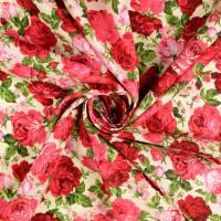 Baumwolle  Popeline Millefleurs Rosen ecru' - rot Töne (1m/9 ,-€)  Bild 2