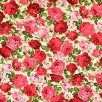 Baumwolle  Popeline Millefleurs Rosen ecru' - rot Töne (1m/9 ,-€)  Bild 3