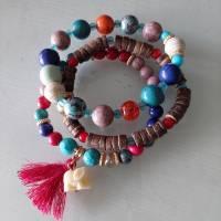 DREIERLEI BUNTES/3 ambänder/freundschaftsarmband/armband/geschenk für sie/flower power/folklore/elefant/fboho/bunt Bild 1