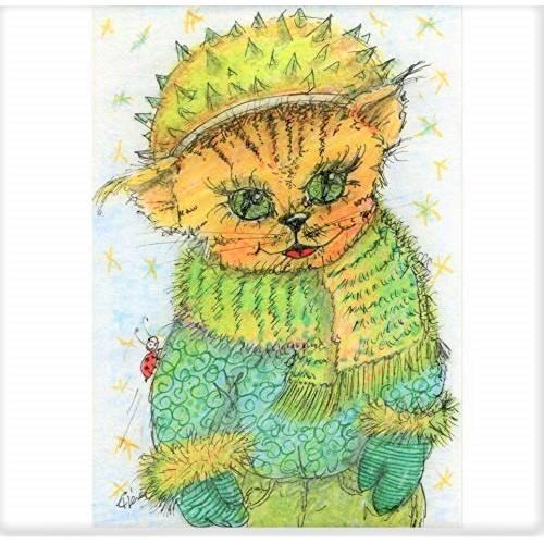 Rote Katze mit Mütze Kastanie Winter handgemalt Minibild 80 x 110 mm Aquarell laminiert niedliche Deko Lesezei   Bild 1