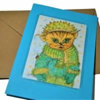 Rote Katze mit Mütze Kastanie Winter handgemalt Minibild 80 x 110 mm Aquarell laminiert niedliche Deko Lesezei   Bild 4