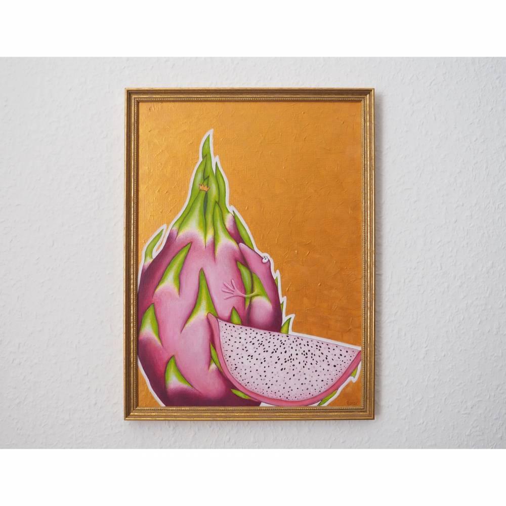 Pitahayafrosch, Pitahaya, Drachenfrucht, Froschkönig, Froschbild, Originalbild, Acrylmalerei, unikat Bild 1