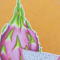 Pitahayafrosch, Pitahaya, Drachenfrucht, Froschkönig, Froschbild, Originalbild, Acrylmalerei, unikat Bild 9
