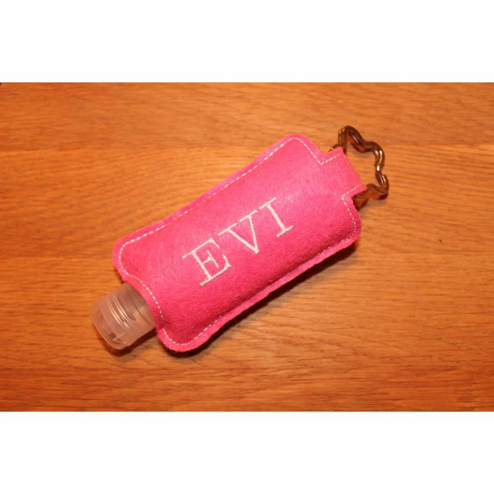Desinfektionsmittel Halter rosa weiß mit Namen Bild 1